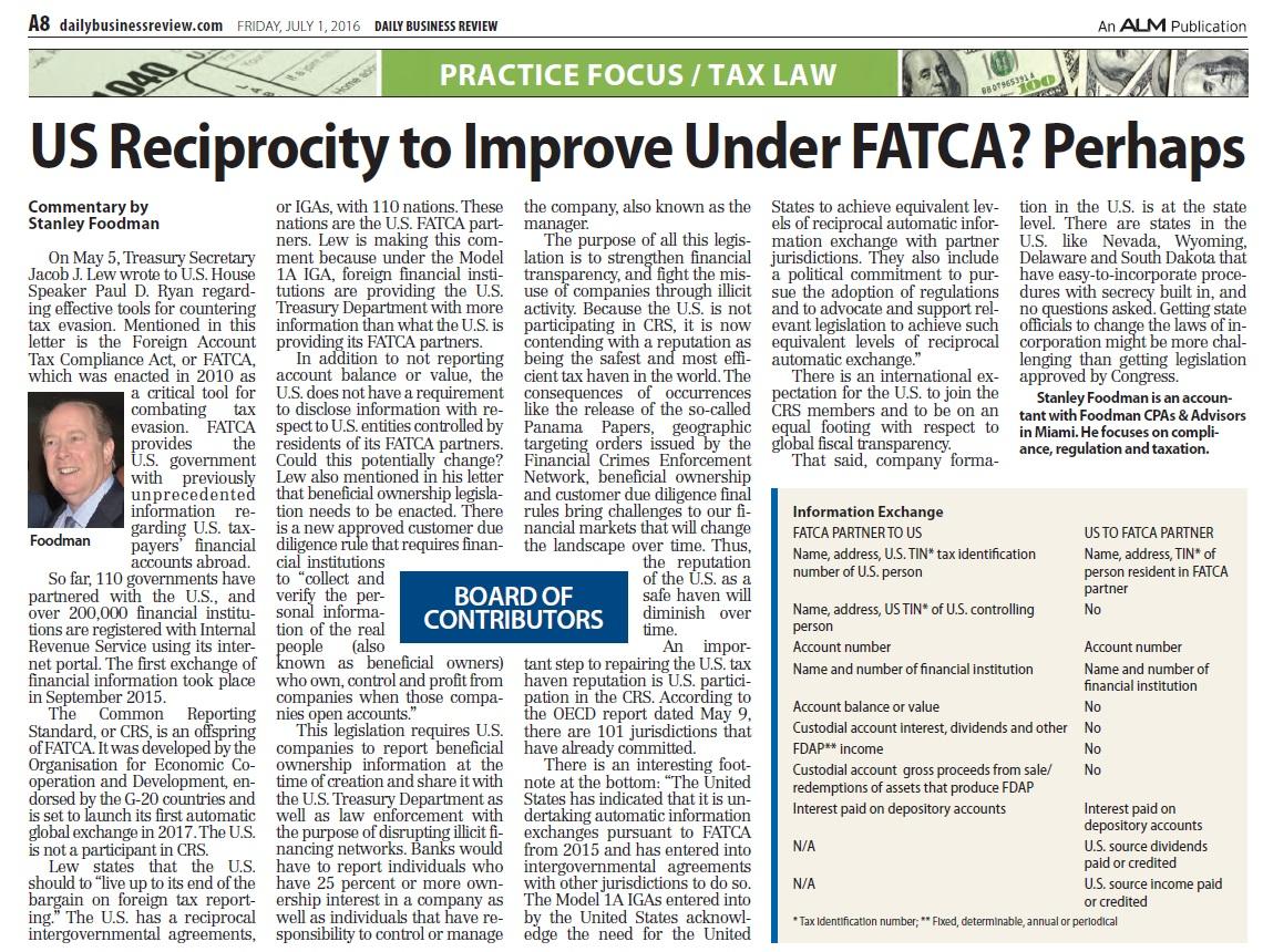 DBR US Reciprocity to Improve under FATCA